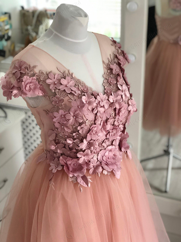 Blush Pink Wedding Dress Short Sleeves 3d Flowers Short Etsy Blush Pink Wedding Dress Short Pink Wedding Dress Short Lace Top Wedding Dress [ 3000 x 2250 Pixel ]