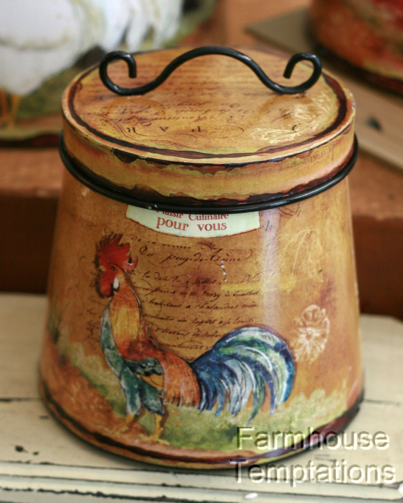 Interesting Facts About Shabby Chic Country Kitchen Design: COTTAGE ROOSTER CANISTER SET Shabby FRENCH COUNTRY Chic