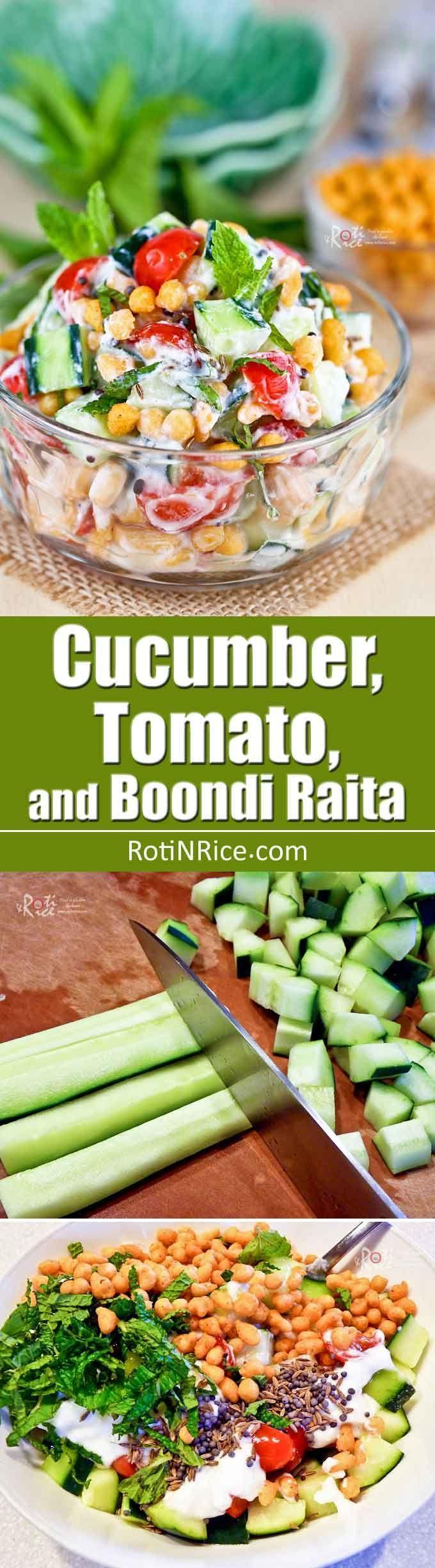 Cucumber Tomato And Boondi Raita Recipe With Images