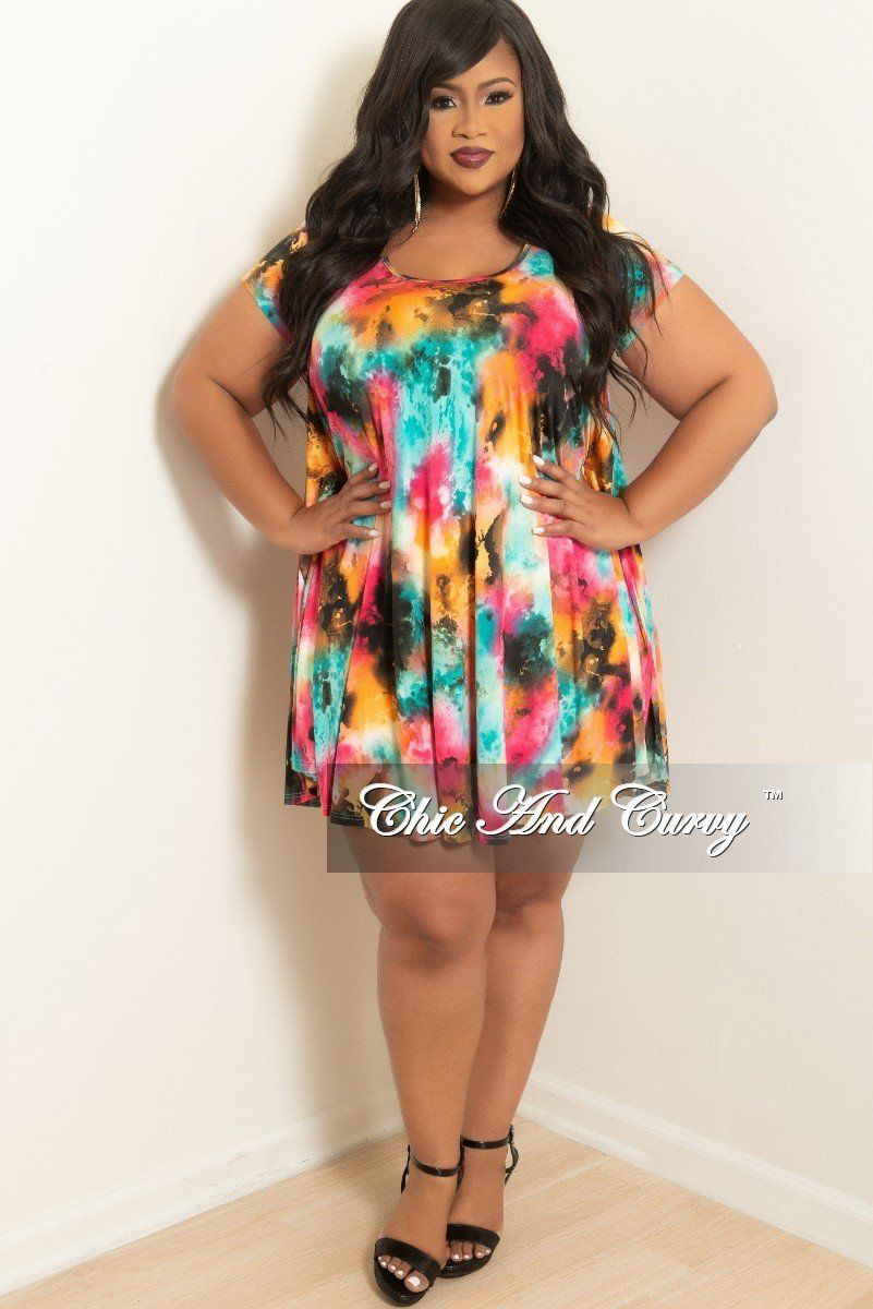 a41d91d853 Plus Size Short Sleeve Rainbow Floral Tunic Babydoll Swing – Chic And Curvy