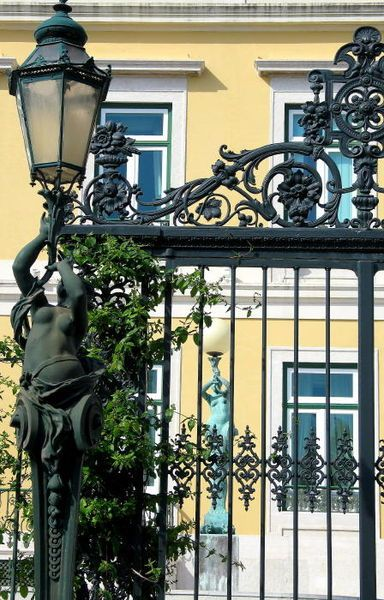Iron Gate At Bairro Alto In Lisbon Beautiful Black White And Yellow Window Security Bars Window Accessories Entrance Gates