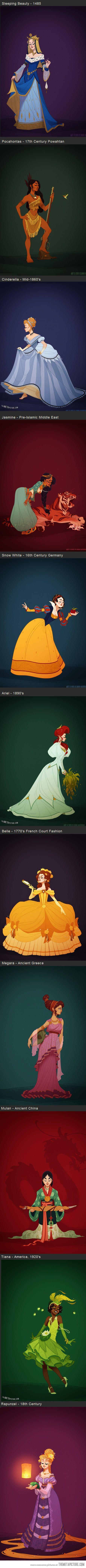 Disney Princesses in accurate period costume. Tiana <3 So perfect *_*