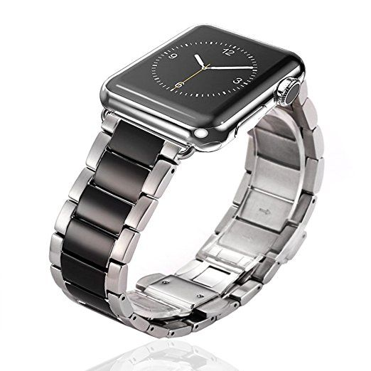 ROTIBOX 24mm Stainless Steel Bracelet Metal Watch Band Strap For Apple Watch 42mm With Metal Adapter Clasp,Stainless Steel Buckle Replacement Strap Wrist Band for Apple Watch & Sport & Edition Silver/Black