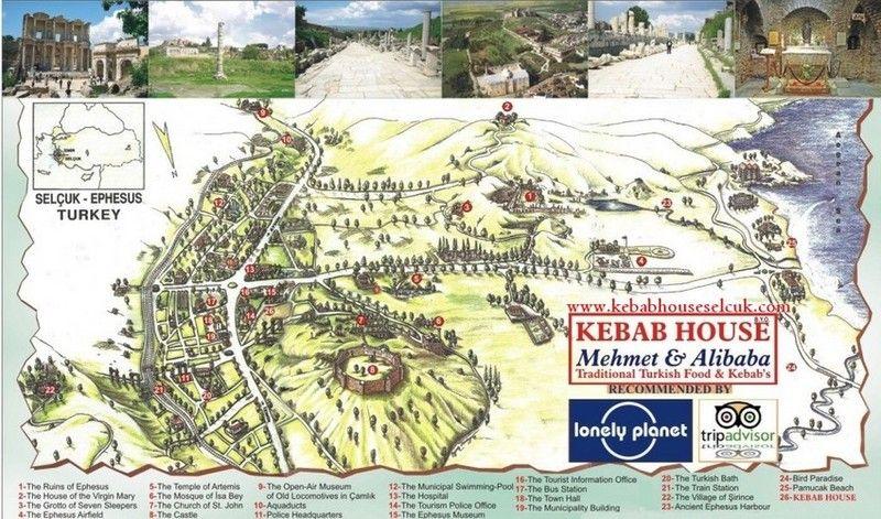 Efes Harabeleri Gezi Rehberi Harabe Haritası Harita Kroki