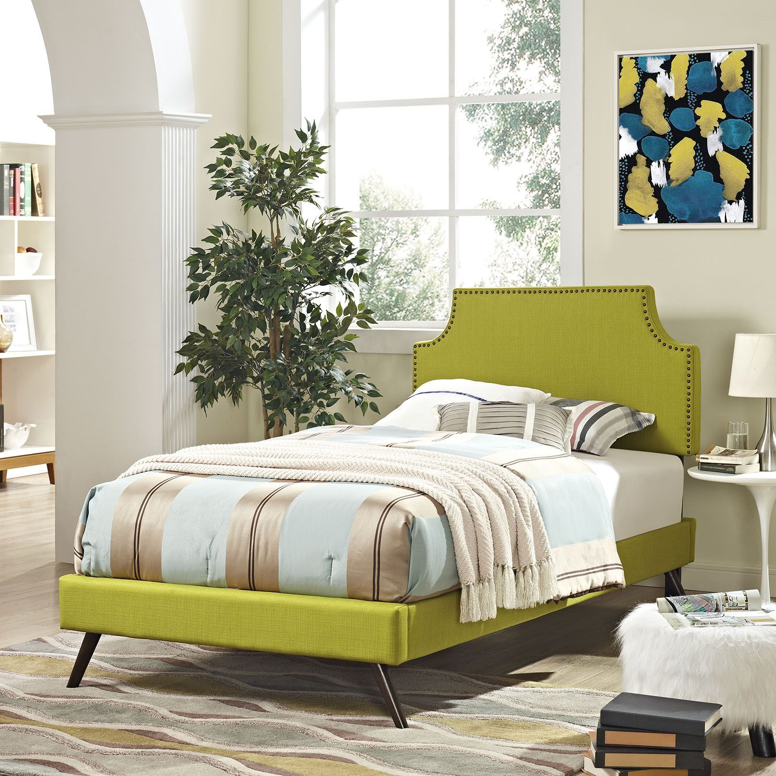 laura twin fabric platform bed with round splayed legs wheatgrass
