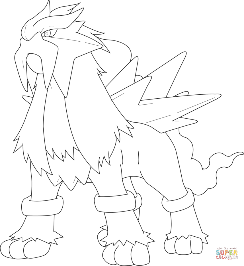 entei coloring coloring pages
