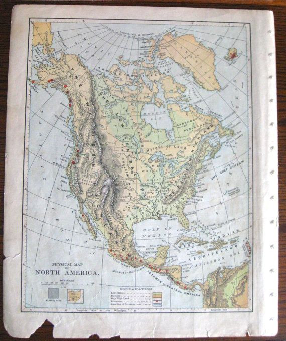 USA Atlas Map From Later S North America Excised School Map - Atlas map of usa and canada
