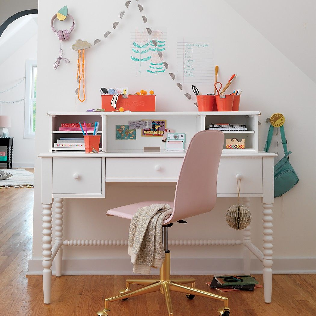 Kids Class Act Pink and Gold Desk Chair Crate and Barrel