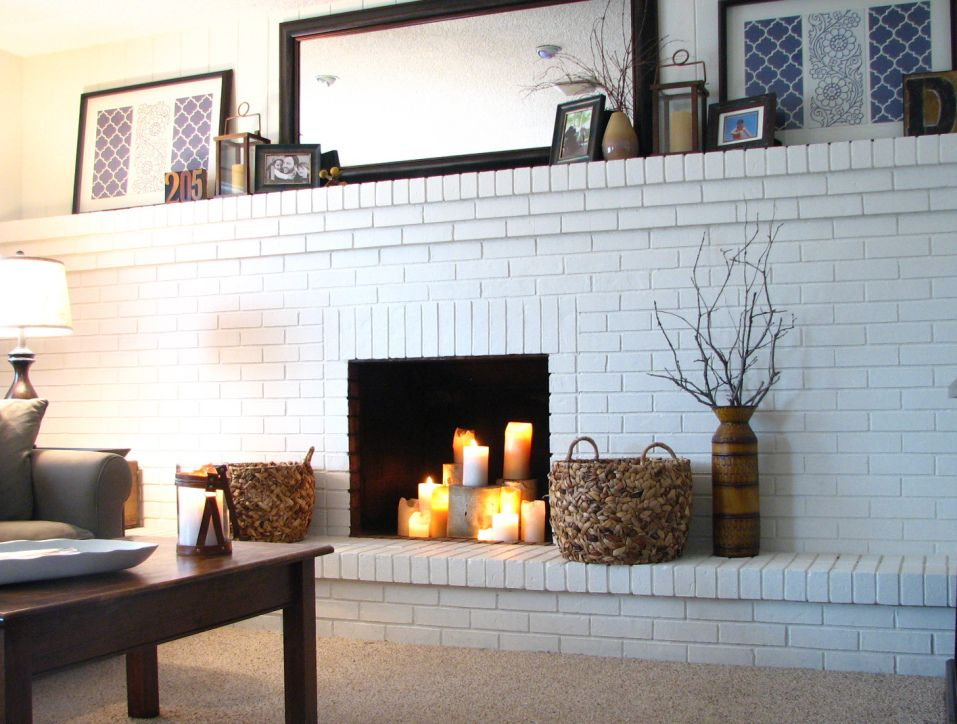 Full Wall Brick Fireplace House Over Head White Brick