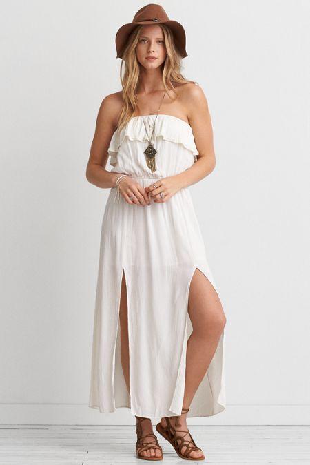 1786a673c7ad AEO Ruffle Strapless Maxi Dress, Women's, Size: 2XL, White   *Clothing*
