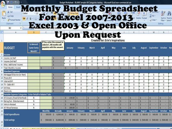 Monthly Budget Spreadsheet, Home Finance Management, Excel - monthly expense report