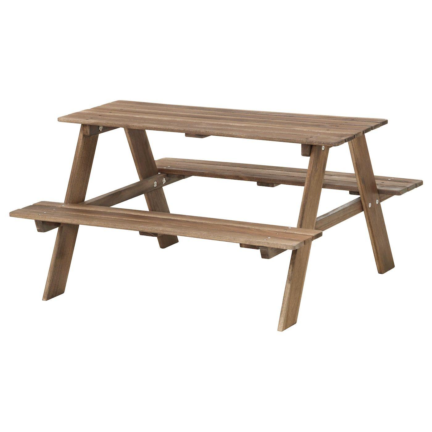 Reso Picknicktisch Fur Kinder Graubraun Lasiert Graubraun Ikea