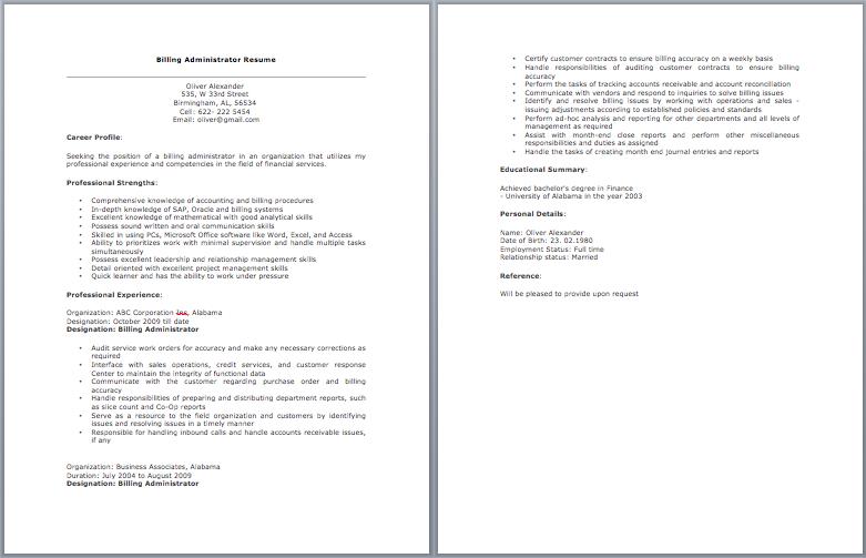 Billing Administrator Resume | Cover letter for resume ...