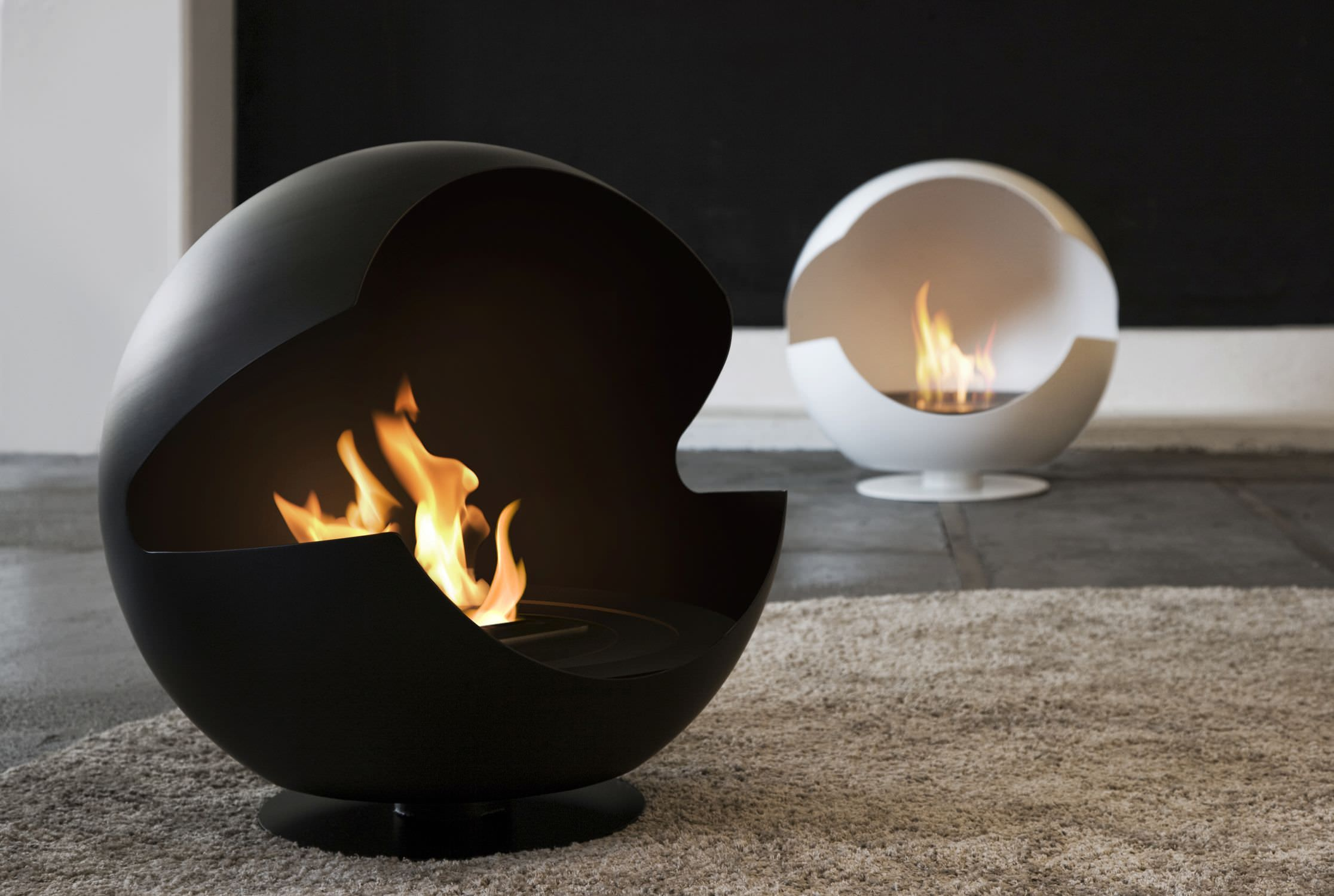 Bioethanol Fireplace Self Supporting Original Design Central  Vauni Globe Low