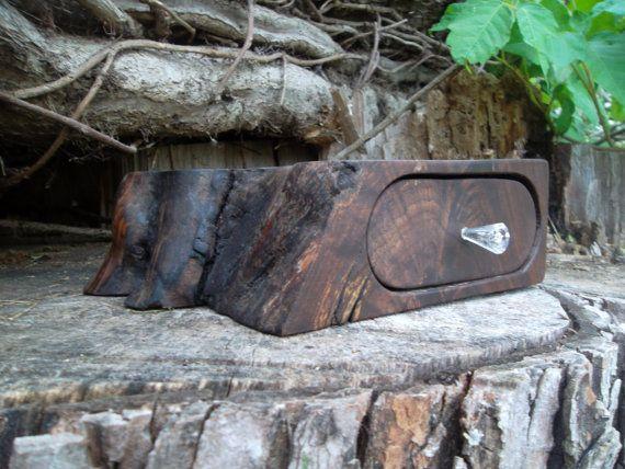Bandsaw Natural Edge Walnut Jewelry/Keepsake Box with Swarovski Artemis Crysal Knob