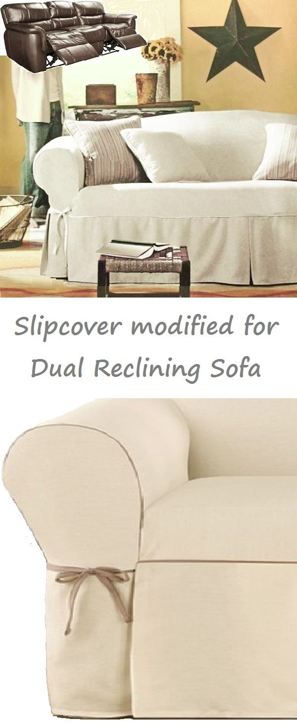 Dual Reclining SOFA Slipcover Cream Contrast Taupe Adapted for Recliner Sofa : slipcovers for recliners with separate footrest - islam-shia.org
