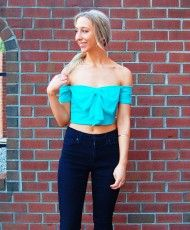 Little Flirt – Mint Off the Shoulder Chiffon Bow Crop Top
