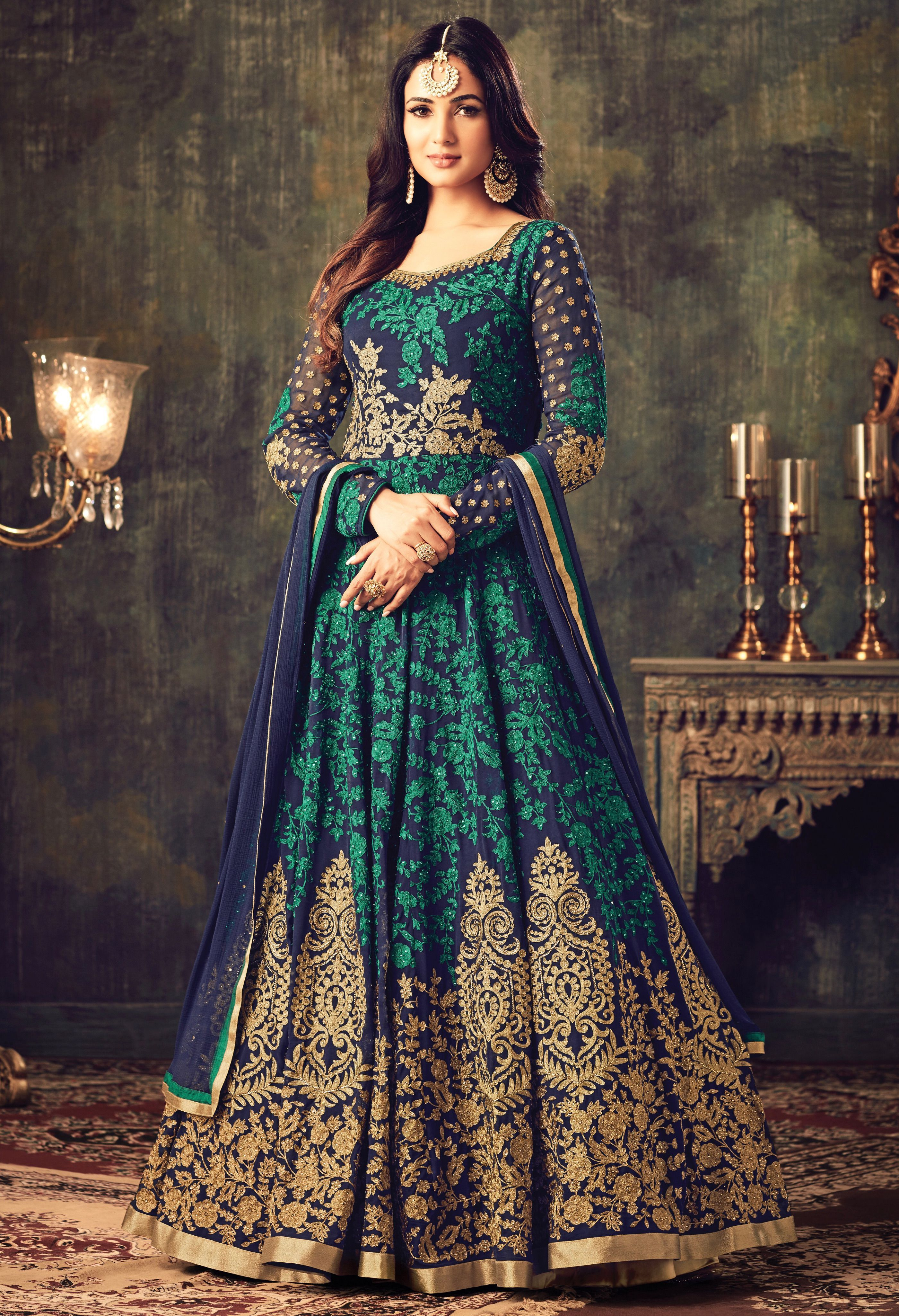 03dd9a955d Buy Sonal chauhan blue green georgette party wear anarkali suit 4705 online  in USA, UK and Canada from KollyBollyEthnnics.com