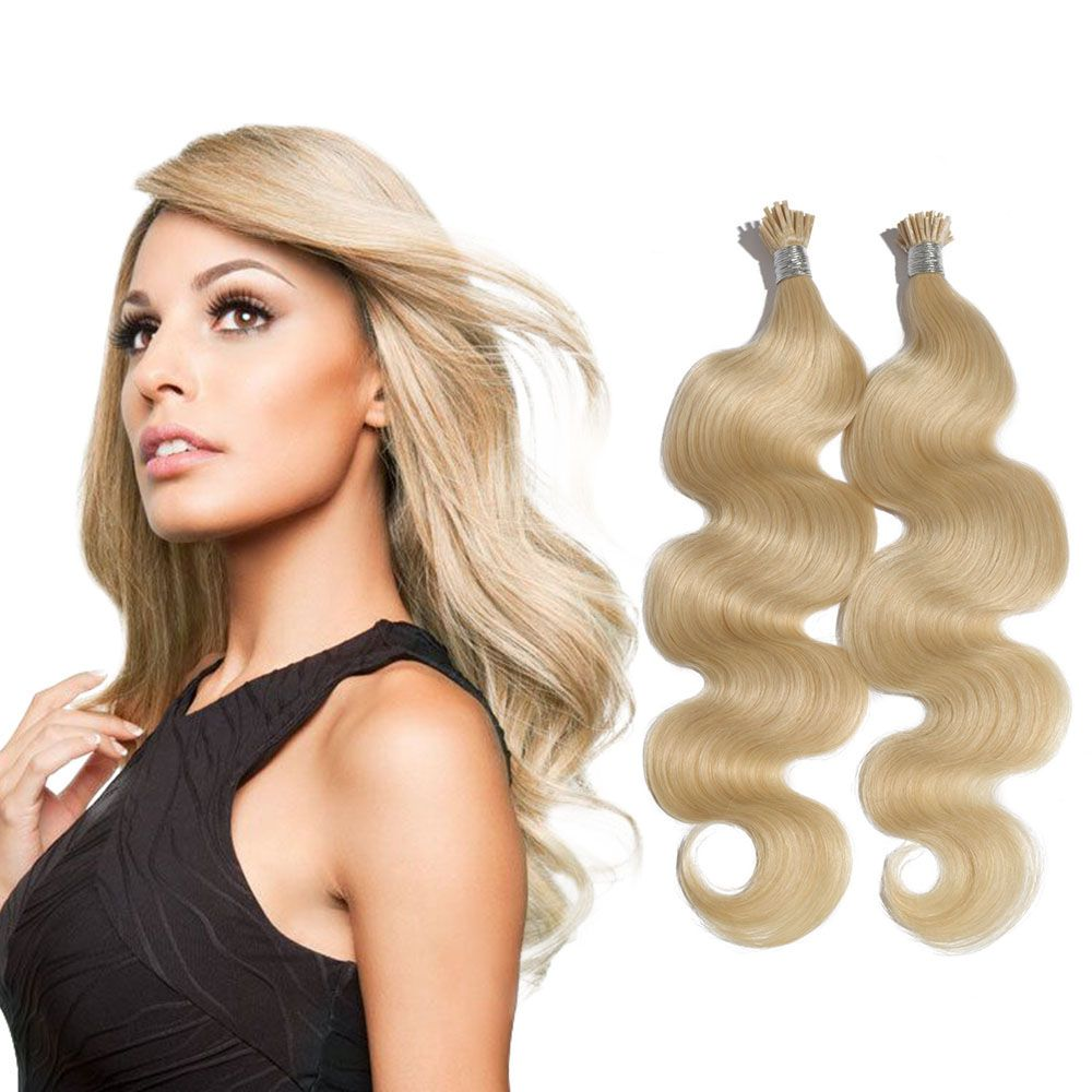 6 30 Inch 60 White Blonde Stick I Tip Body Wave Real Human Hair