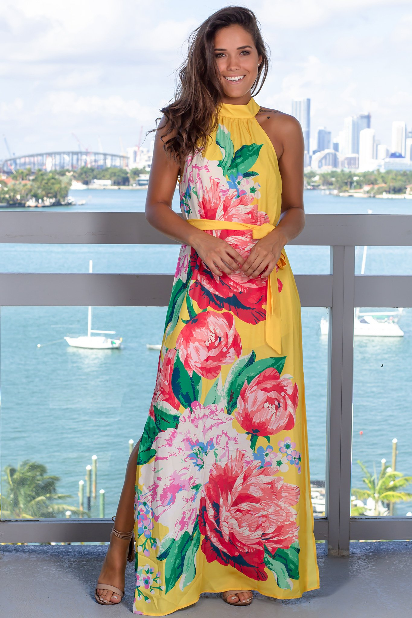 Yellow Floral Maxi Dress With Halter Neck Bright Floral Maxi Dress