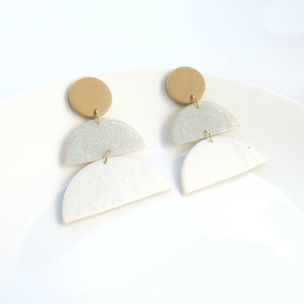 Modern Clay Earrings Nuetral Polymer Clay Jewelry,Handmade Geometric Earrings Speckled Boho