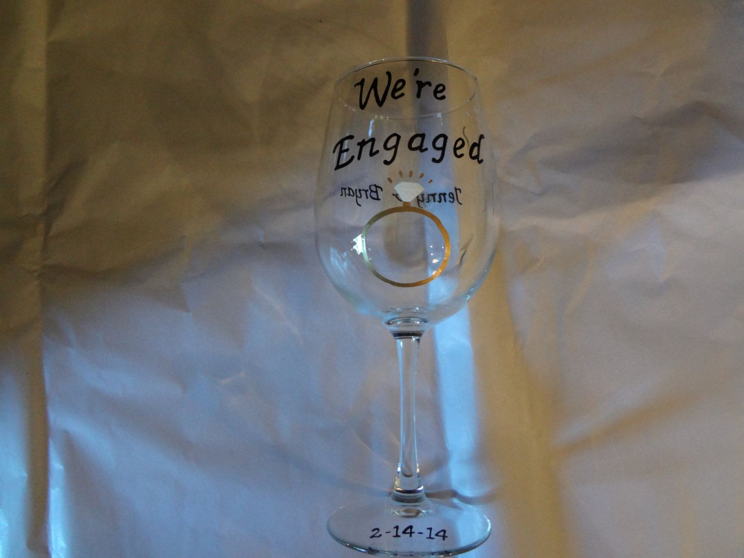 Engagement Handpainted Wine Glass Personalized by Kathy1910