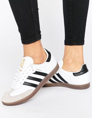 save off 4dd46 b4290 adidas Originals White And Black Samba Og Sneakers