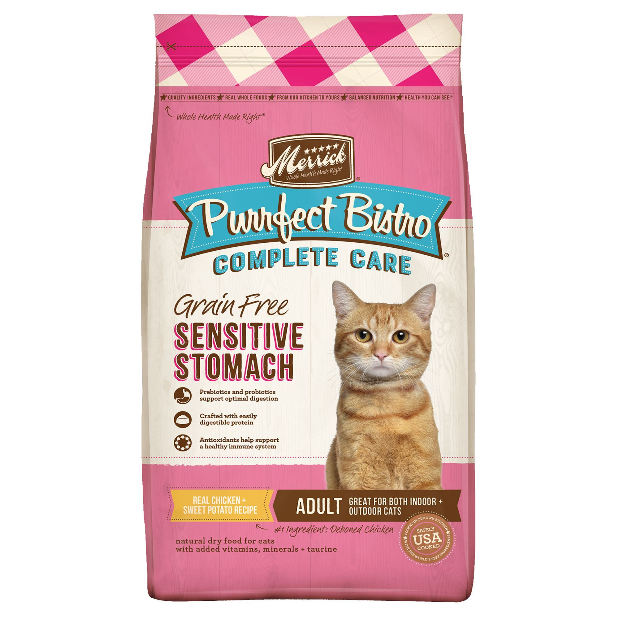 Merrick Purrfect Bistro Sensitive Stomach Adult Cat Food Natural Grain Free Size 12 Lb Cobalt Copper Salmon Chicken Dry Cat Food Dry Dog Food Cat Food