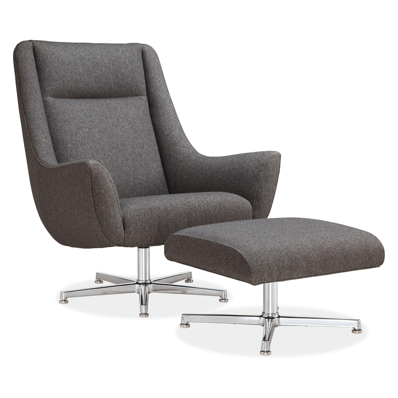 Charles swivel chair ottoman with aluminum base modern