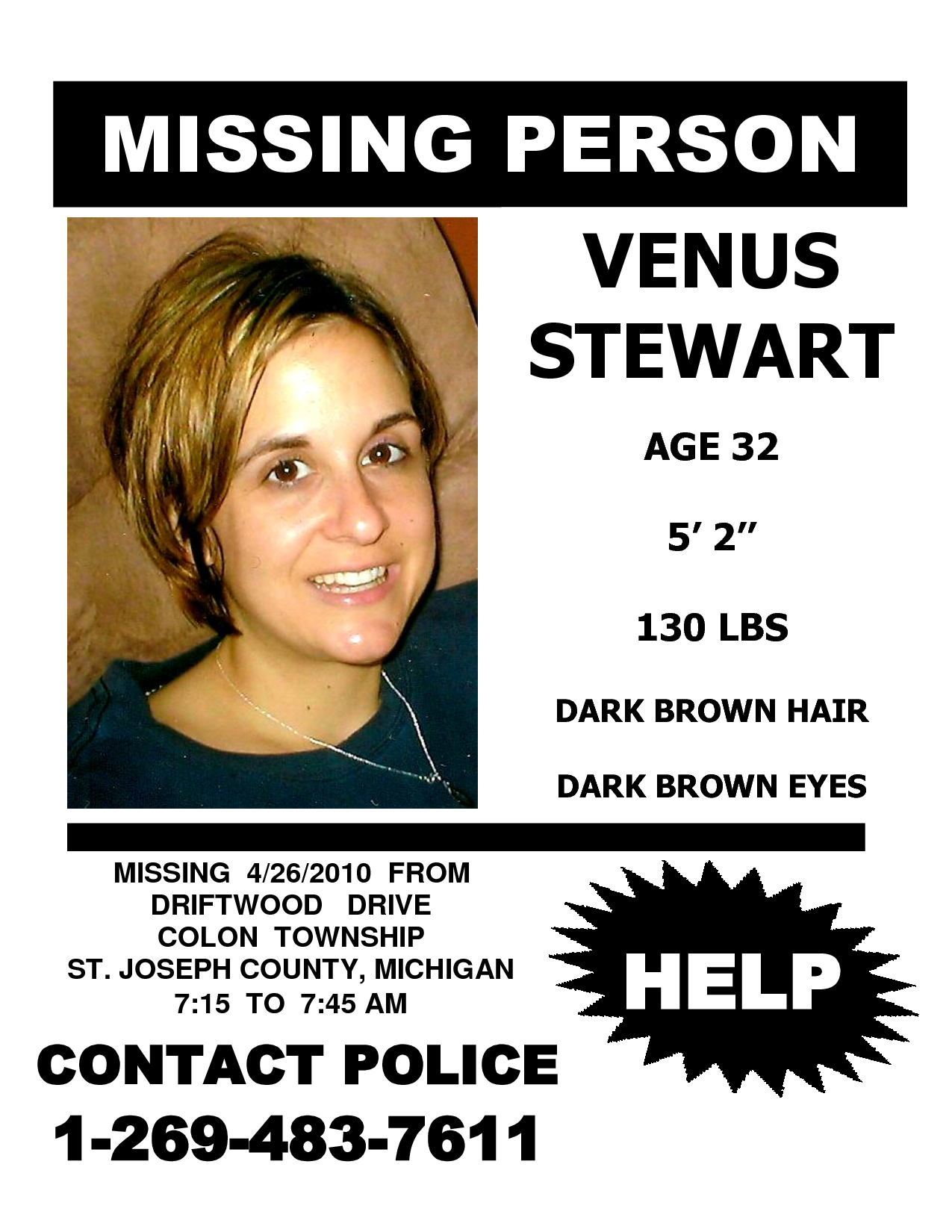 missing people VENUS STEWART MISSING PERSON FLYER – Missing Persons Poster Template
