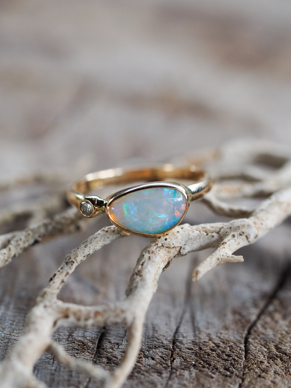 Custom Australian Opal Ring in Gold (With images