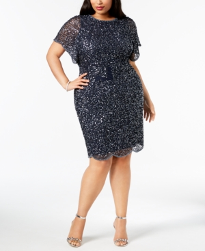Adrianna Papell Plus Size Beaded Flutter-Sleeve Dress in ...