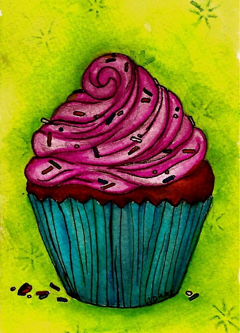 cupcake craft ideas print of original birthday cupcake watercolor painting 1823