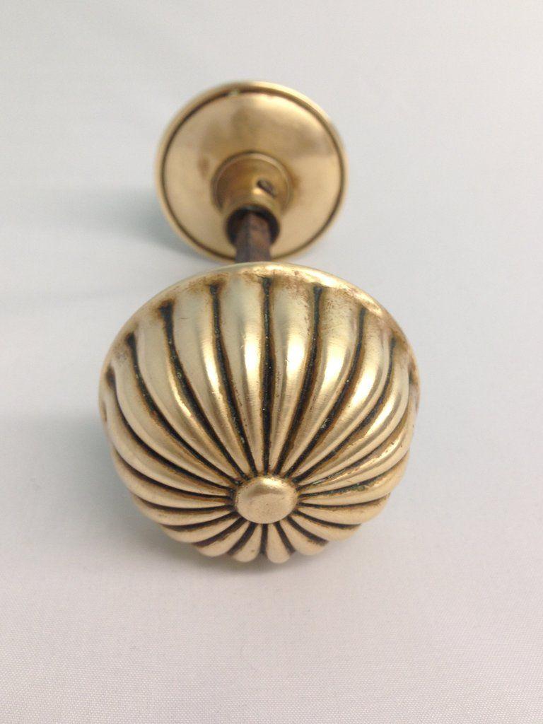 Antique Victorian Brass Dome Door Knob Set