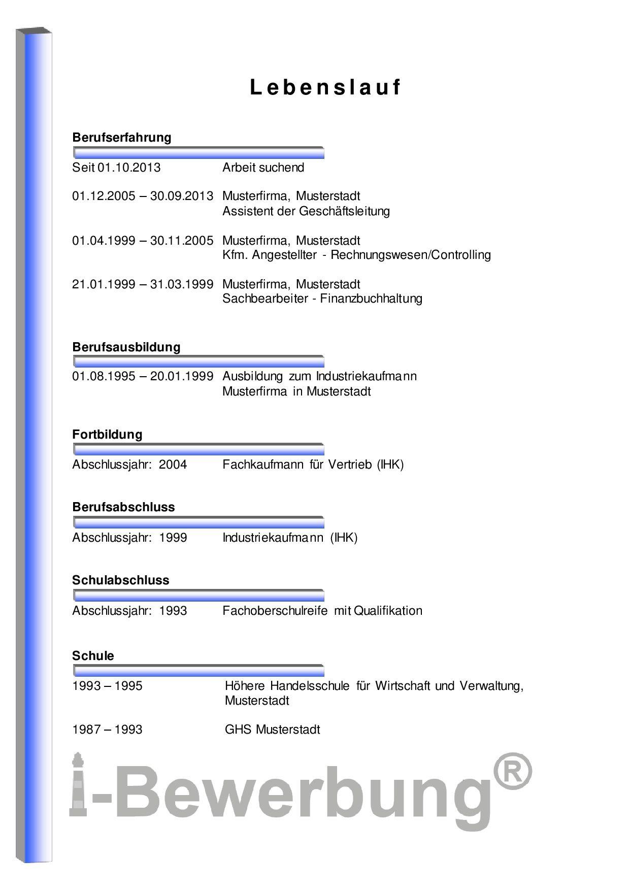 Initiativbewerbung für den Assistenzbereich – Muster Lebenslauf ...