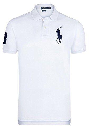 Ralp Rauren Poloshirt Big Pony Herren Custom Fit (L, Weiß)