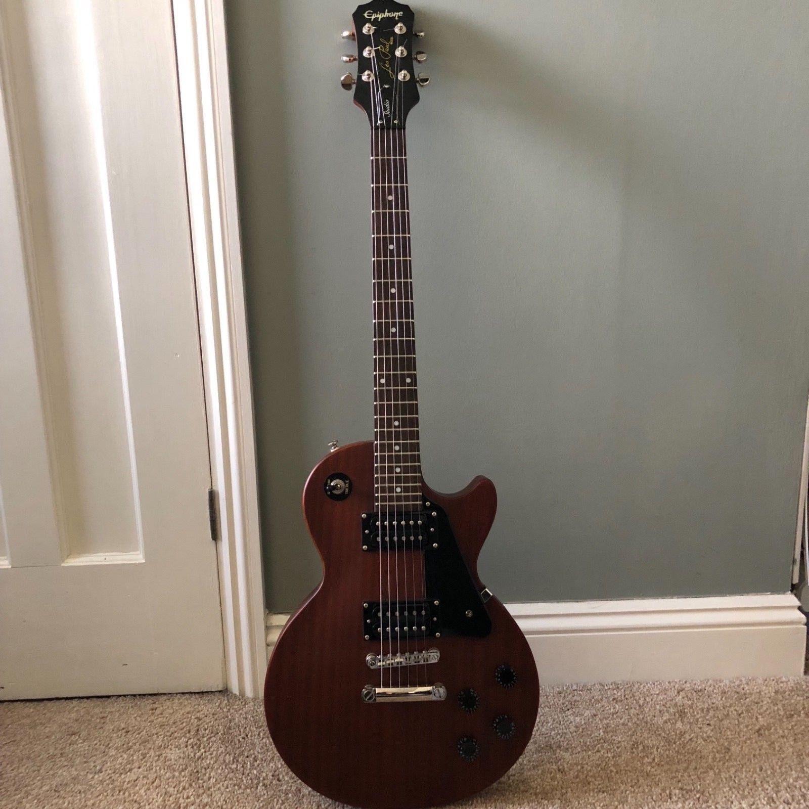 Epiphone Les Paul Studio Electric Guitar In Worn Cherry Satin Gibson Sgj Wiring Diagram Finish