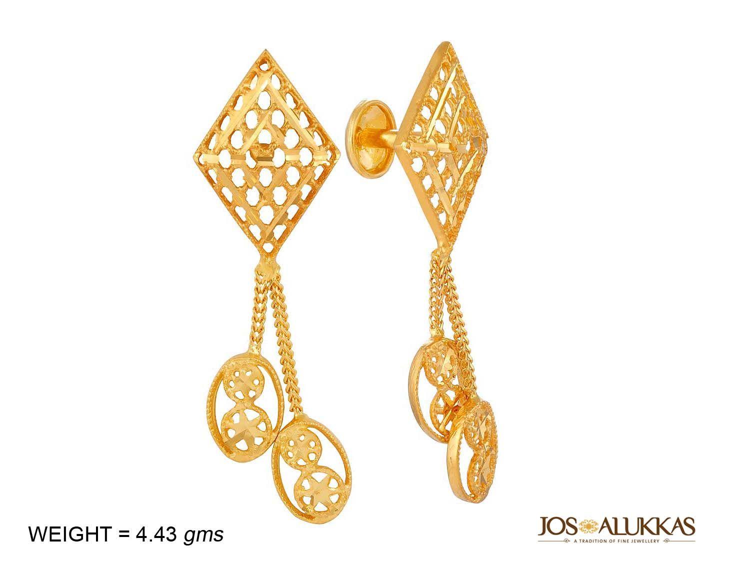 Beautiful gold earring | 22Kt Earrings to wear | Pinterest