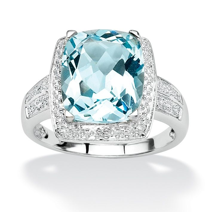 6 41 Tcw Cushion Emerald Cut Blue Genuine Topaz Diamond Accent