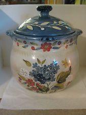 Certified International FLORA Pamela Gladding Large Cookie Jar Blue Floral