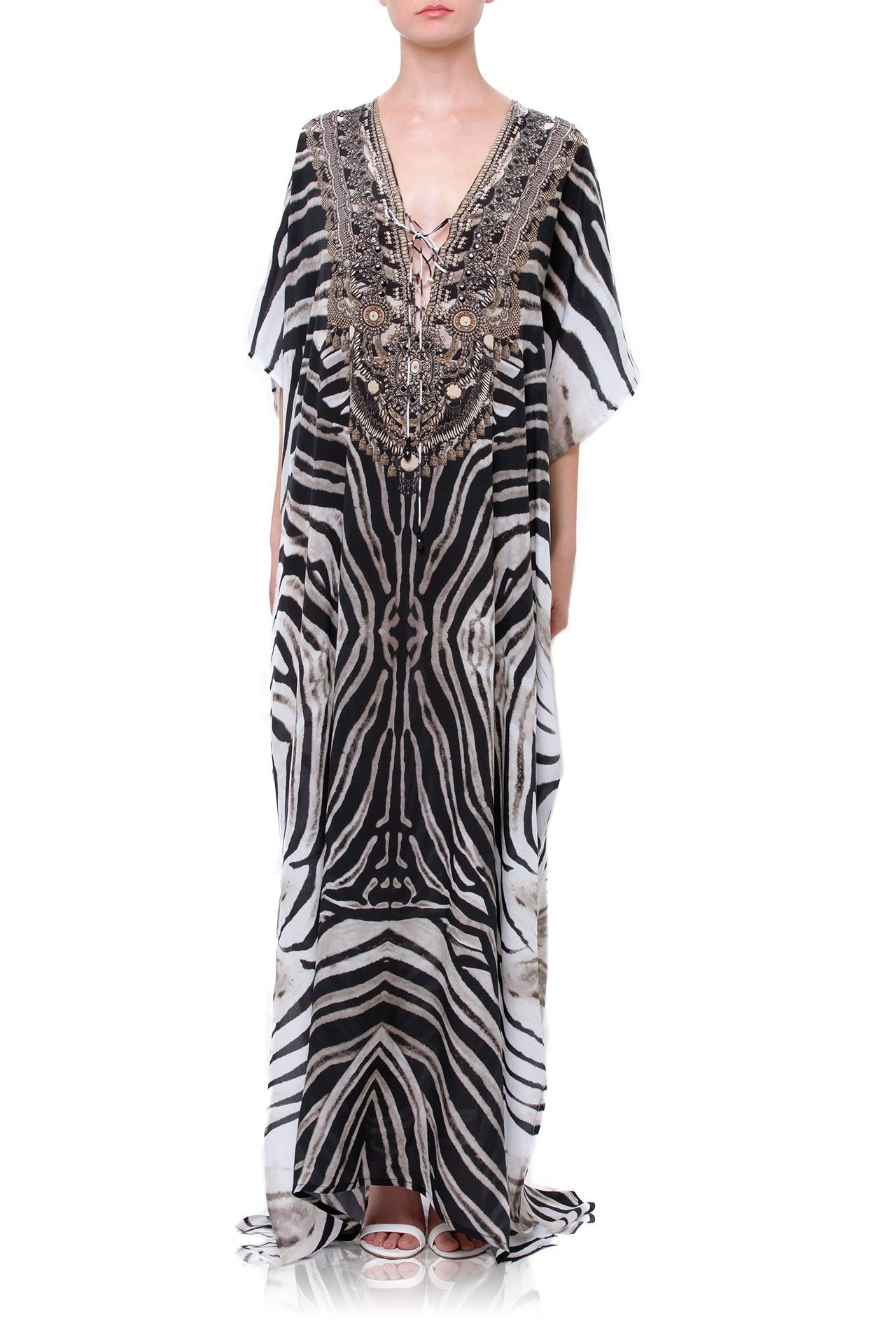 Black and white printed long kaftan dress in stripes clothes in