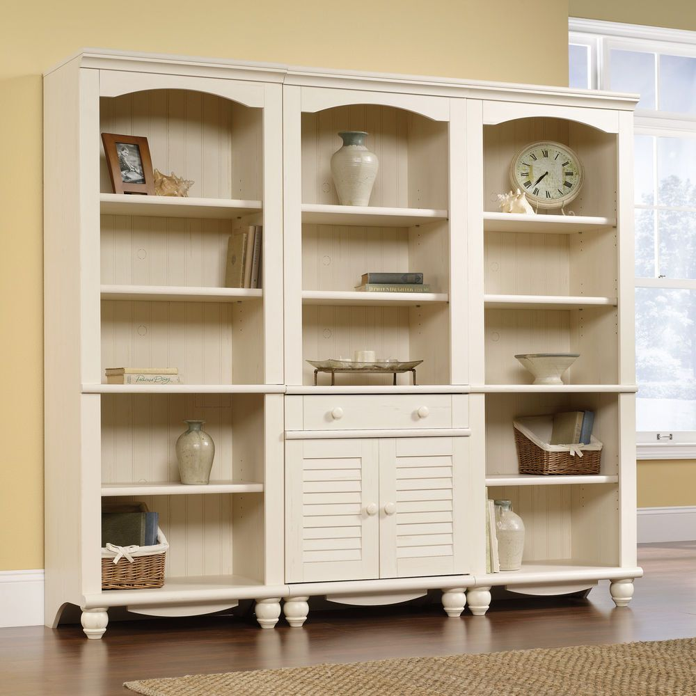 Antique White 3 Piece Library Bookcase Set Shelf Furniture Home Living  Display #Sauder #Contemporary - Antique White 3 Piece Library Bookcase Set Shelf Furniture Home