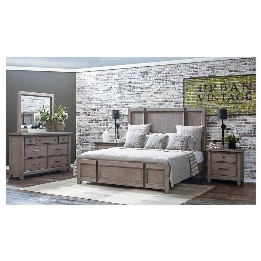 The Industrial Style Of The Prospect Hill King Platform Bed Is Unique For Your Bedroom With Oak Veneers Raised Grai Furniture Mattress Furniture Bedroom Group