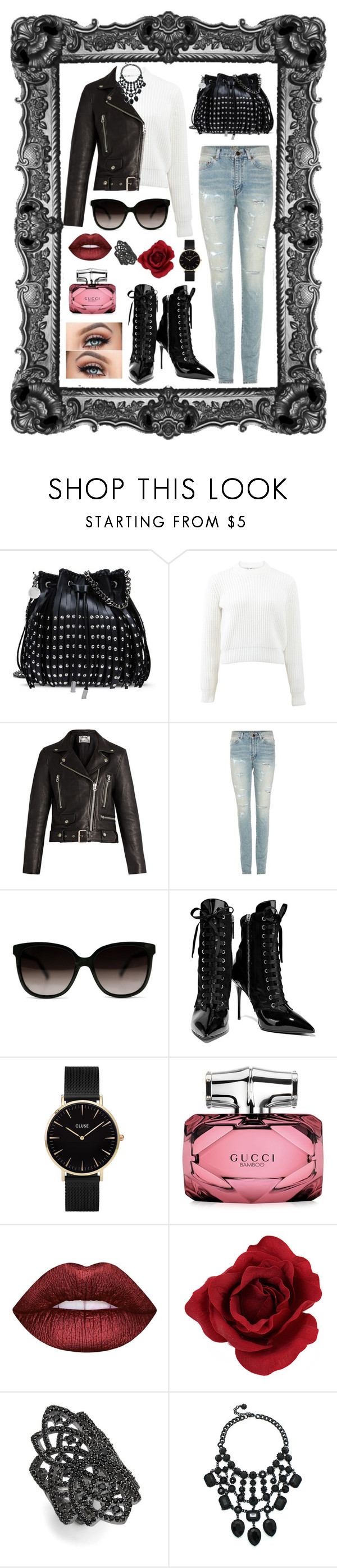"""""""Untitled #480"""" by rockinstyles ❤ liked on Polyvore featuring STELLA McCARTNEY, T By Alexander Wang, Acne Studios, Yves Saint Laurent, Gucci, Giuseppe Zanotti, CLUSE, Lime Crime, Noir and Eye Candy"""