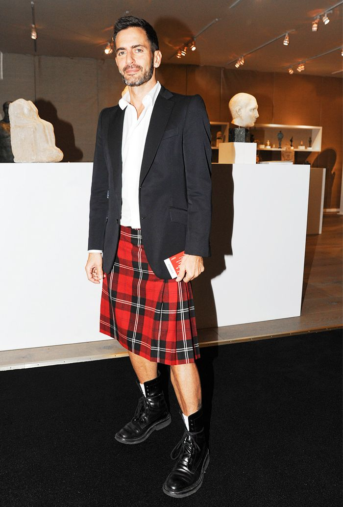 31699fa786 Marc Jacobs in a white button-down shirt, black blazer, and plaid skirt