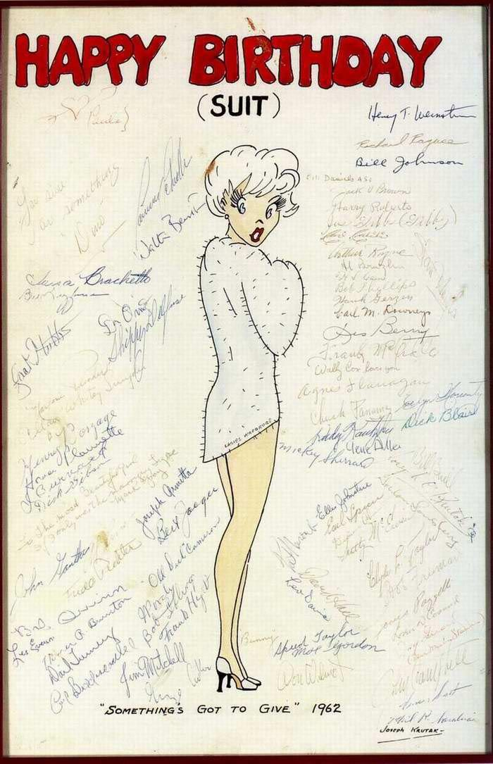 1962 Marilyns Birthday Card From The Somethings Got To Give Crew