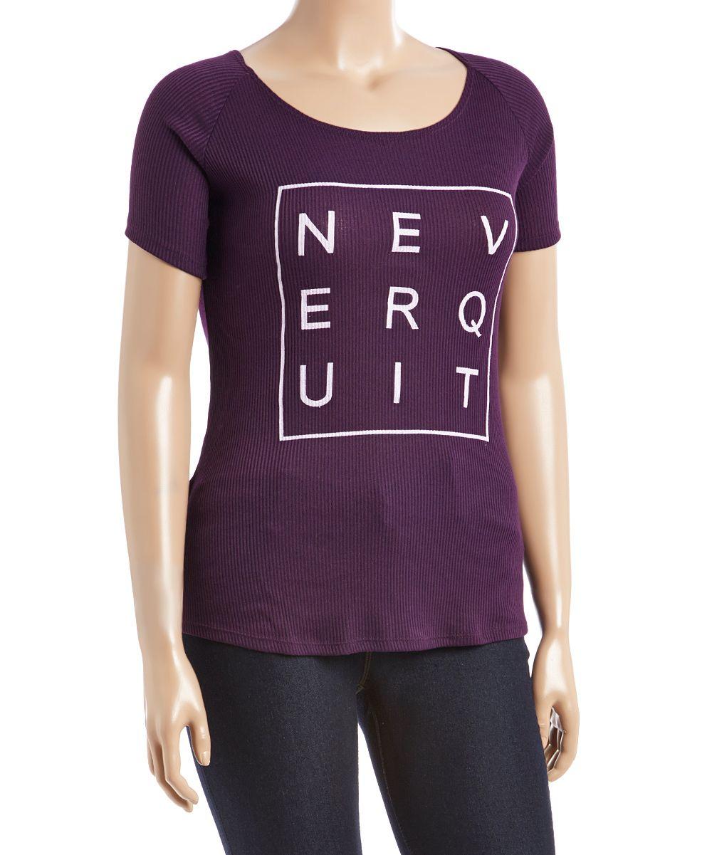 Purple 'Never Quit' Ribbed Tee - Plus