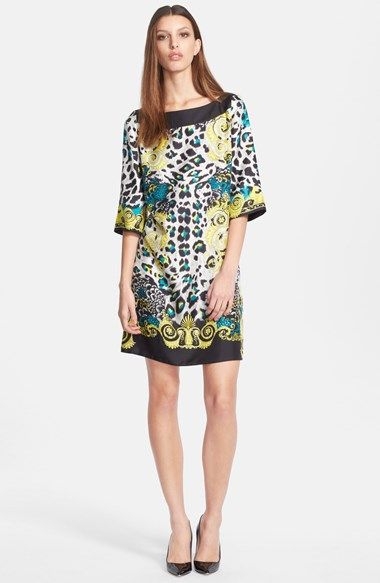 Versace Collection Print Silk Shift Dress available at #Nordstrom