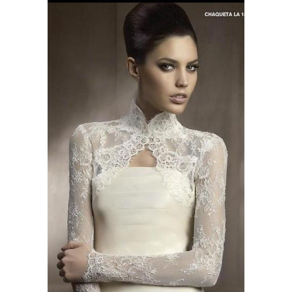 Long sleeve lace wedding jacket tulle lace open front for Wedding dress lace bolero
