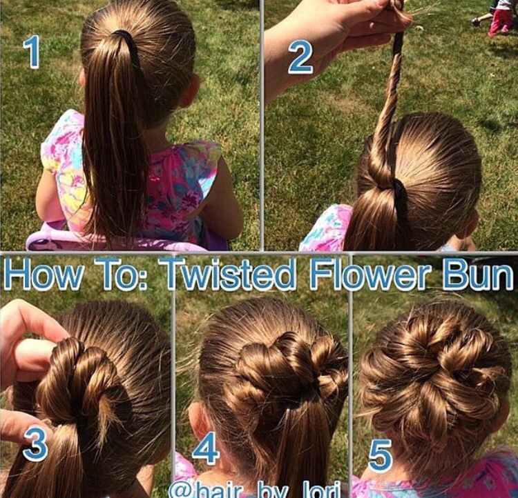 Step By Step Guide On How To Create A Twisted Flower Bun Hair Styles Girl Hair Dos Girl Hairstyles